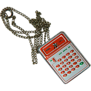 SALE Fun Funky Vintage Calculator Necklace Pendant Novelty Item