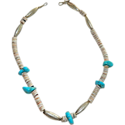 SALE Genuine Native American Sterling Turquoise Heishi Bead Necklace