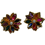 SALE Colorful Bezel Set Crystal Flower Earrings