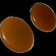 SALE Oversized Butterscotch Bakelite Button Clip Earrings