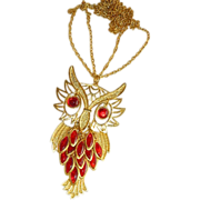 SALE Haute Couture! Blood Red Bezel Set Glass Owl Pendant ~ Huge!