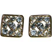 SALE Bold Shining Nordstrom Bezel Set Crystal Earrings ~ Runway Worthy!