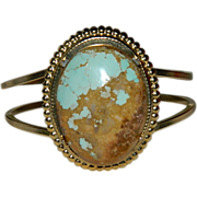 SOLD Huge Hand Made Kingman Turquoise Cab Clamper Cuff Bracelet