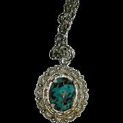 SALE Gorgeous Hand Made Kingman Turquoise Cab Charm Pendant