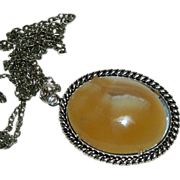 SALE Hand Made Rare Utah Orange Onyx Cab Pendant Sterling Silver