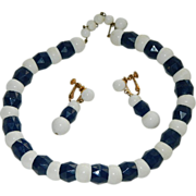 SALE Marvella Signed Navy Blue White Lucite Beaded Necklace & Earrings
