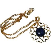 SALE Gorgeous Hand Made Azurite Cab Heart Pendant on Chain