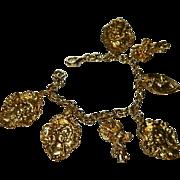 SALE Vintage Art Nouveau Stamped Metal Charm Bracelet ~ Angels Cherubs