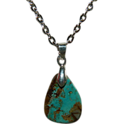 SALE Handcrafted Royston Turquoise Tear Drop Pendant w Sterling Silver