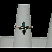 SALE Vintage Turquoise Jet Double Drop Ring Vermeil sz 8