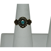 SALE Vintage Maltese Cross Turquoise Ring ~ Gold Wash over Brass sz 8
