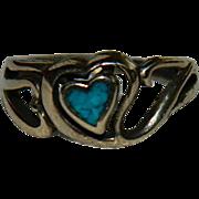 SALE Vintage Vermeil Turquoise Cut Out Heart Ring sz 5