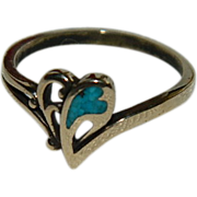 SALE New Old Stock Vermeil & Turquoise Heart Splash Ring sz 8