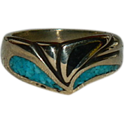 SALE New Old Stock Modernist Vermeil Turquoise & Jet Ring sz 8