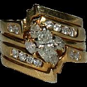 SALE Glorious 1.10 ct Diamond 14K Yellow Gold 4 Band Engagement ~ Wedding Band ca 1987 sz 5.5
