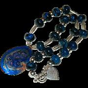 SALE Industrial Haute! Hand Made Cobalt Blue Jasper Sterling Silver Enameled Copper Pendant ~