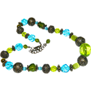 SALE Industrial Brunette! Electric Blue Lime Green Glass & Lucite Beaded Necklace