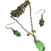 SALE Brilliant Faceted Lime Green Glowing Crystal Necklace & Earring Set