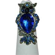 SALE Glamorous Royal Blue Rhinestone Owl Ring ~ Adjustable.