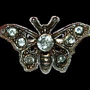 SALE Sweet Sterling Silver Filigree Paste Butterfly Pin