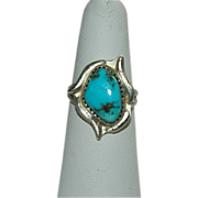 SALE One of a Kind Campitos Turquoise Sterling Silver Ring sz 7