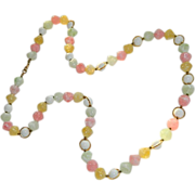 SALE Spring Pastels Pink, Yellow, Green White Marbled Lucite Beaded Necklace