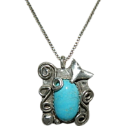 "SOLD ""A Whale's Tail"" by Jackie O ~ Hand Made Sleeping Beauty Turquoise Sterling Sil"