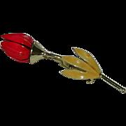 SALE Stunning Red Enamel Tulip Brooch