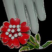 SALE Huge Blood Red Faux Pearl Center Enamel Flower Brooch ~ Carnation