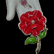 SALE Pretty Red Green Enamel Flower Power Brooch Pin w/white Rhinestones