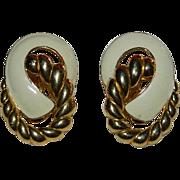 SALE Monet White & Gold Tone Enamel Earrings