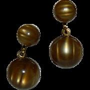 SALE 1930's Early Plastics Rootbeer Float Lucite Ball Dangler Earrings