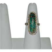 SOLD Edwardian Style Stick Turquoise Pointer Finger Ring ~ sz 7