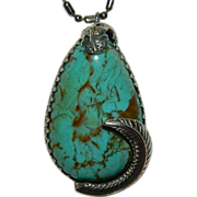 SALE Impressive Huge Number 8 Turquoise Feather Pendant ~ Hand Made One of a Kind
