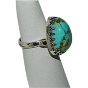 SALE Stunning Oversized Pear Shaped No 8 Turquoise Stone Ring ~ Sterling sz 7.25