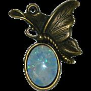 SALE Fiery Colorful Faux Opal Butterfly Pendant Bronze Cast