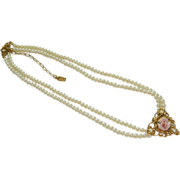 SALE 1928 Faux Pearl English Porcelain Rose Double Stranded Necklace