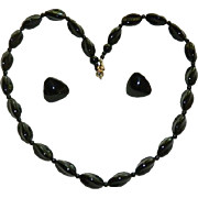 SALE 1940's Jet Black Glass Modernist Beaded Necklace & Earring Set