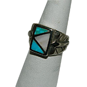 SALE Vintage Men's Inlay Turquoise & Mother of Pearl Sterling Ring  sz 8.5