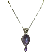 SOLD Graceful Hand Made Sterling Amethyst Pendant on Sterling Silver Chain
