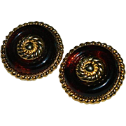 SALE Big Bold Beautiful Faux Tortoise Shell Button Earrings