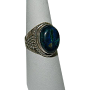 SALE Original Azurite Malachite Sterling Ring sz 8.25