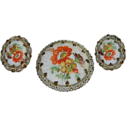 SALE West Germany Sugar Stone Floral Spray Brooch & Earring Set