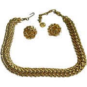 SALE Lisner Full Set Gold Tone Runway Quality Necklace & Earring Set