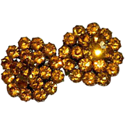 SALE Most Gorgeous High End Vintage Amber Crystal Earrings