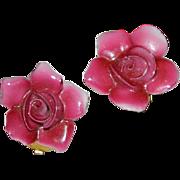 SALE Old English Bone China Rose Flower Earrings