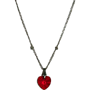 SALE Sweet Vintage Red Crystal Heart Pendant on Chain Ca 1970's