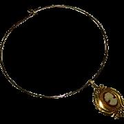 SALE Gorgeous Art Nouveau Gold Filled Celluloid Cameo on Gold Tone Collar