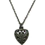 SALE Sexy Art Nouveau Sterling Silver Open Worked Heart Charm Pendant on Chain