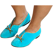"SALE Pristine ""Leisure Class"" Turquoise Blue Velvet Flat Shoes sz 6.5M"